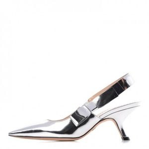 New CHRISTIAN DIOR Silver Slingbacks, 35